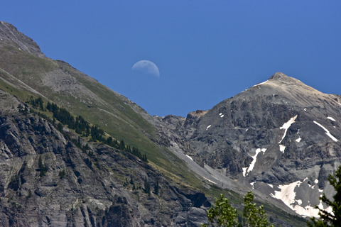 Day Moon Over Mountains